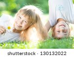 happy active kids playing on... | Shutterstock . vector #130132022