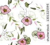 trendy floral pattern with pink ... | Shutterstock .eps vector #1301325595