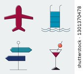 travel and tourism line icons... | Shutterstock .eps vector #1301370478