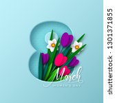 8 march greeting card for... | Shutterstock .eps vector #1301371855