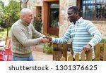 friendly farmer greeting his... | Shutterstock . vector #1301376625