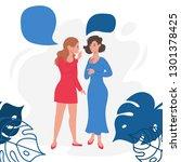two girl friends gossiping ... | Shutterstock .eps vector #1301378425
