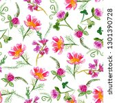 seamless pattern with pink hand ... | Shutterstock . vector #1301390728