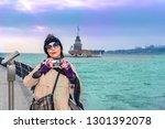 beautiful woman tourist takes...   Shutterstock . vector #1301392078