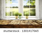 desk of free space and easter... | Shutterstock . vector #1301417065
