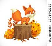 cute little fox stands on a big ... | Shutterstock .eps vector #1301442112