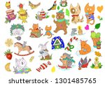 cats and other cute animals....   Shutterstock . vector #1301485765