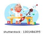boy chemist and kids future... | Shutterstock .eps vector #1301486395