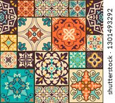seamless colorful patchwork... | Shutterstock .eps vector #1301493292
