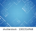 blueprint vector floor plan... | Shutterstock .eps vector #1301516968