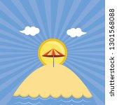 seascape beach with umbrella | Shutterstock .eps vector #1301568088