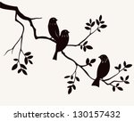 Vector spring birds on twig silhouette. Decorative branch of tree