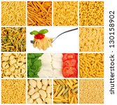 mosaic with choice of different noodles - stock photo
