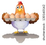 Illustration Of A Hen Holding A ...
