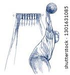 bowling   an sportman. an hand... | Shutterstock . vector #1301631085