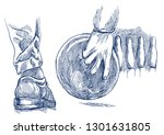 bowling   an sportman. an hand... | Shutterstock . vector #1301631805
