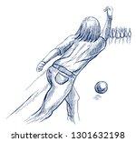 bowling   an sportman. an hand... | Shutterstock . vector #1301632198