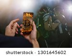 golden bitcoin coin against... | Shutterstock . vector #1301645602