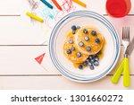 kid's breakfast meal   pancakes ...   Shutterstock . vector #1301660272