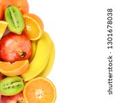 set of fruits isolated on white ... | Shutterstock . vector #1301678038