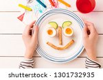 kid's breakfast   funny face... | Shutterstock . vector #1301732935
