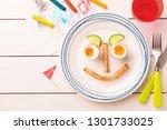kid's breakfast   funny face...   Shutterstock . vector #1301733025