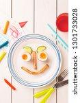 kid's breakfast   funny face...   Shutterstock . vector #1301733028