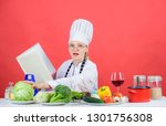 female in hat and apron knows...   Shutterstock . vector #1301756308