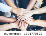 business group united hands... | Shutterstock . vector #1301770522