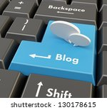 3d blue keyboard button   blog... | Shutterstock . vector #130178615