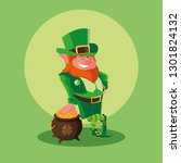 comic leprechaun and cauldron... | Shutterstock .eps vector #1301824132