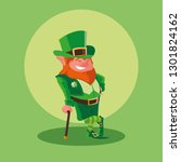 comic leprechaun with cane... | Shutterstock .eps vector #1301824162