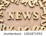word news made with wooden... | Shutterstock . vector #1301871952
