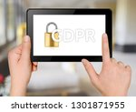 hands with tablet. word gdpr on ... | Shutterstock . vector #1301871955