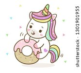 unicorn cartoon vector with... | Shutterstock .eps vector #1301901955
