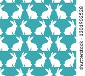 cute rabbits pattern background | Shutterstock .eps vector #1301902528