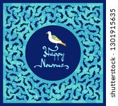 nowruz greeting card with bird... | Shutterstock .eps vector #1301915635