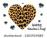 valentine day leopard heart | Shutterstock .eps vector #1301919385
