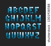 pixel square font. mosaic... | Shutterstock .eps vector #1301938588