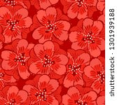 abstract red flowers seamless... | Shutterstock . vector #1301939188