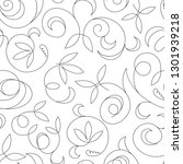 seamless abstract black floral... | Shutterstock . vector #1301939218