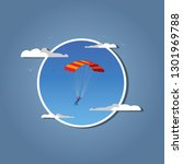 skydiver flying with parachute. ... | Shutterstock .eps vector #1301969788