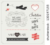 set of wedding ornaments and... | Shutterstock .eps vector #130197155