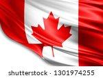 canada flag of silk 3d... | Shutterstock . vector #1301974255