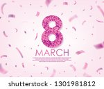 purple 8 march with scattered... | Shutterstock .eps vector #1301981812