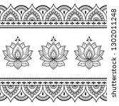 set of mehndi lotus flower...   Shutterstock .eps vector #1302011248
