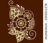 mehndi flower pattern for henna ... | Shutterstock .eps vector #1302011278