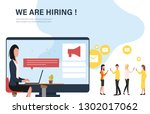 we are hiring concept banner.... | Shutterstock .eps vector #1302017062
