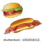 hot dog burger imbiss bbq party ... | Shutterstock .eps vector #1302018112