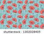 poppy meadow. vector seamless... | Shutterstock .eps vector #1302028405